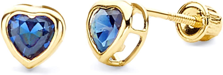 Wellingsale 14K Yellow Gold Polished 5mm Heart Bezel Set Birth CZ Cubic Zirconia Stone Stud Earrings With Screw Back July