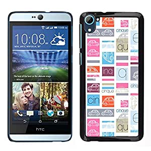 MOBMART Carcasa Funda Case Cover Armor Shell PARA HTC Desire D826 - Colored Cars Pattern