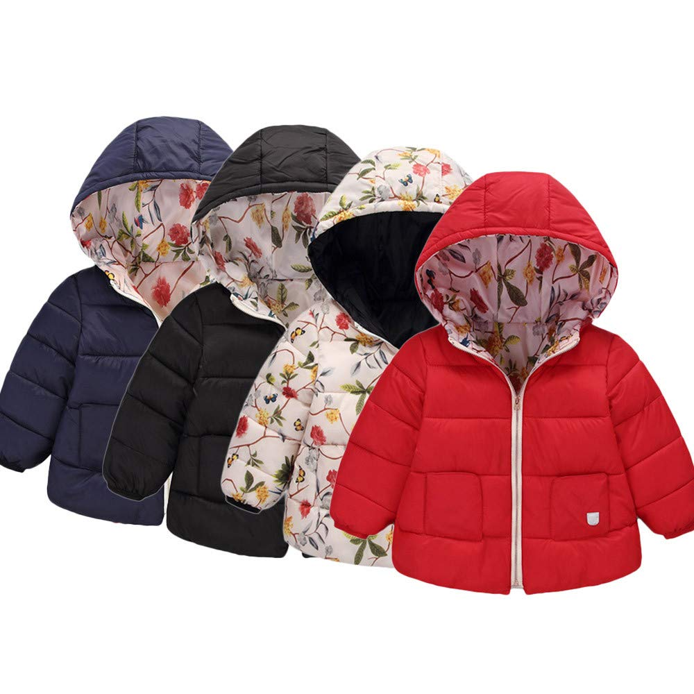BSGSH Baby Girl Boy Floral Light Down Jacket Zipper Winter Warm Hooded Coat for Toddler
