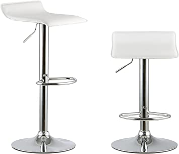 Set of 2 Bar Stools Adjustable Hydraulic Swivel Dining Counter Chair Pub Kitchen
