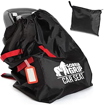 Gorilla Grip Car Seat Bag With Pouch Bonus Luggage Tag Adjustable Padded Shoulder Straps