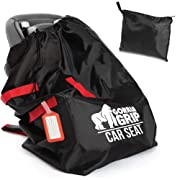 Gorilla Grip Car Seat Bag with Pouch, Bonus Luggage Tag, Adjustable Padded Straps for Backpack, Easy Carry, Universal Size Travel Bags Fit Most Carseats, Airport Flying with Baby, Airplane Gate Check