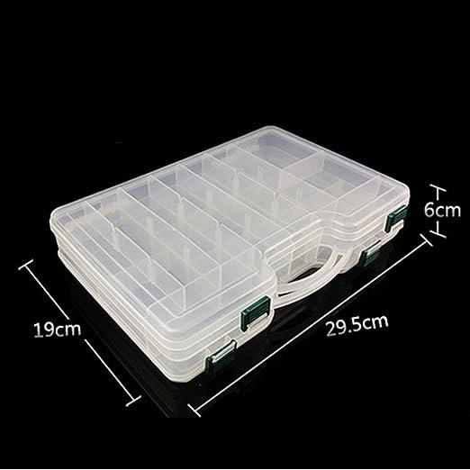 Eleganantamazing - Caja de plástico portátil de Doble Cara con separadores Ajustables, contenedor de Alta Capacidad para Aparejos de Pesca: Amazon.es: Deportes y aire libre
