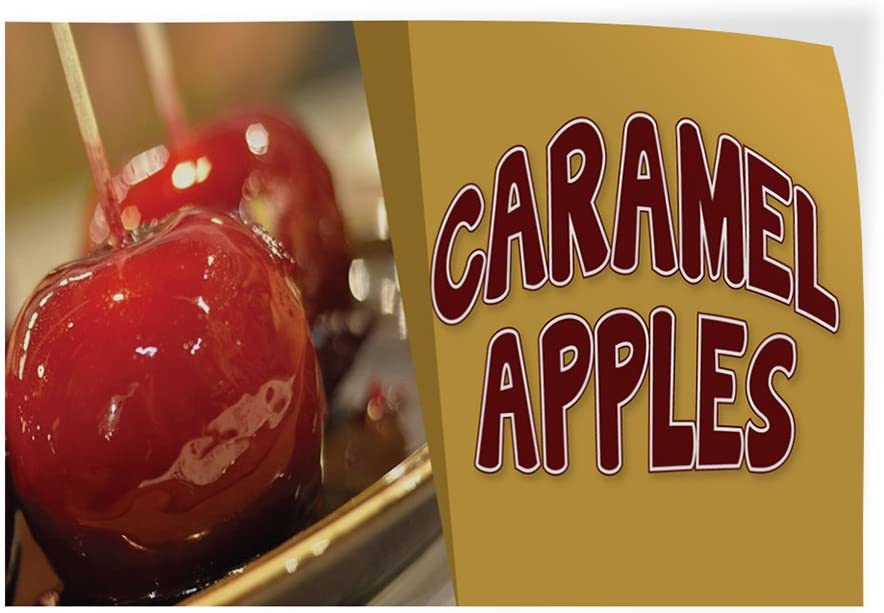 Set of 5 Decal Sticker Multiple Sizes Carmel Apples #1 Style A Business Caramelized Apples Outdoor Store Sign White 27inx18in