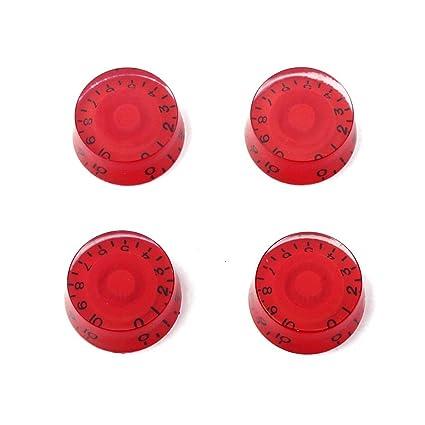 4pcs Botones Perillas con Números Instrumentos Musicales Accesorio de Guitarra Bajo Eléctrico Control Tono Volumen Bricoleja
