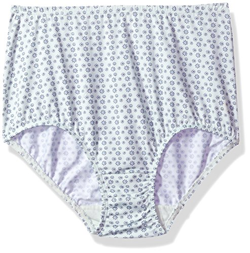 Olga Women's Plus Size Without a Stitch Tailored Brief, Pale Jade Dot Flower Print, 6