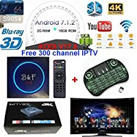 [2018 New Version] KD 17.6 B&F 2G RAM+16G ROM Free 300 channel IPTV UK/CA/USA/Sports Android 7.1.2 TV BOX UHD 4K /64Bit/Amlogic S905W Quad Core+Mini Keyboard