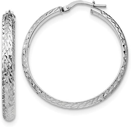 925 Sterling Silver Polished /& Textured Hoop Earrings