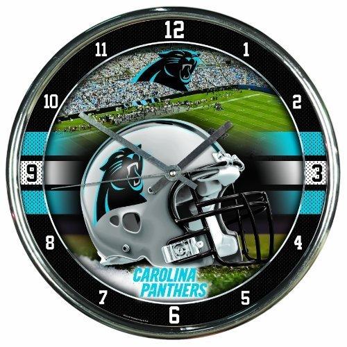 CAROLINA PANTHERS NFL CHROME ROUND CLOCK by WinCraft (Clock Nfl Round Wincraft)