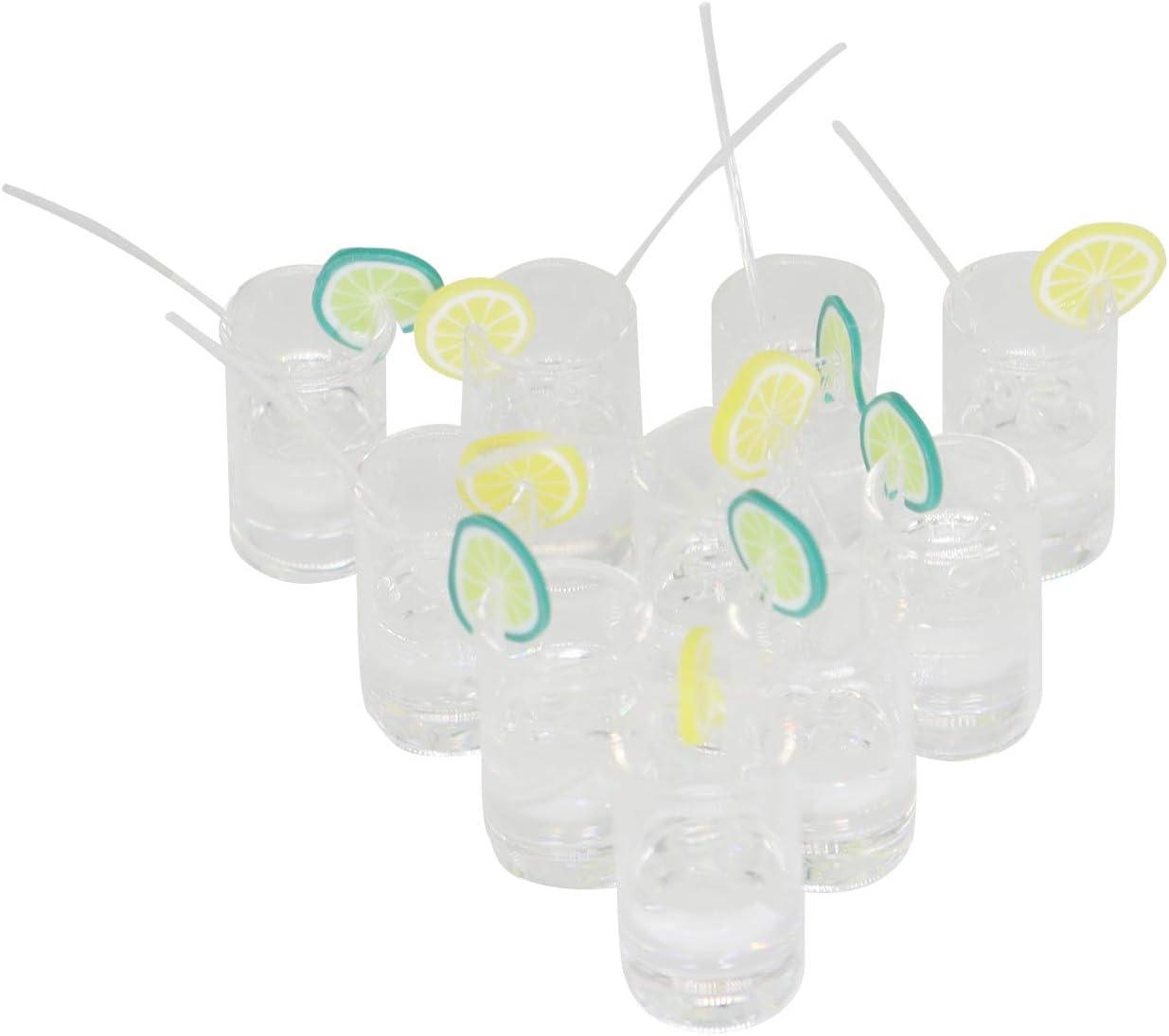 Hiawbon 10 pcs 1:12 Scale Mini Dollhouse Accessories Miniatures Yellow Green Lemon Water Cups Food Drinks Supplies