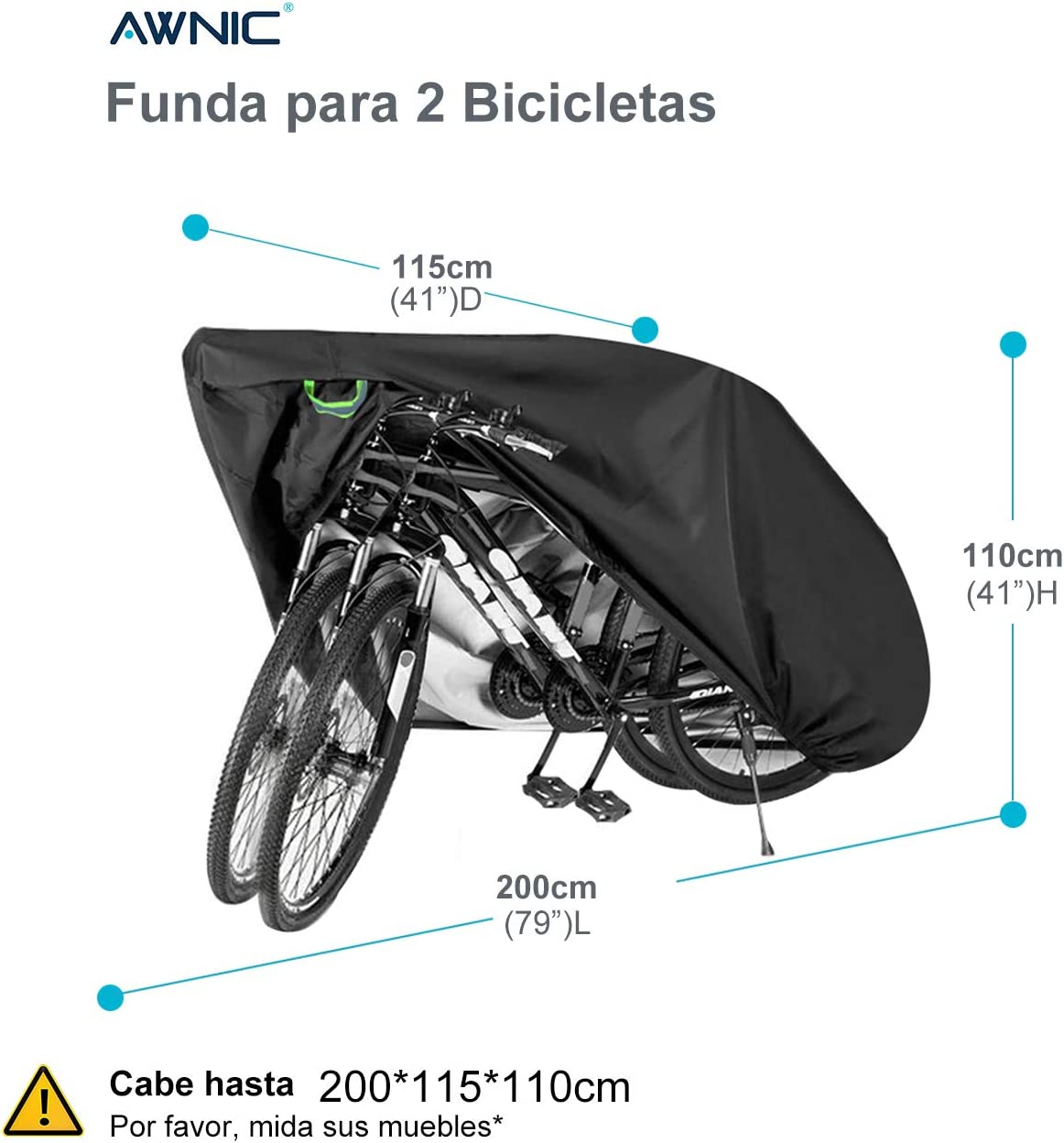 Awnic Funda Bicicleta Impermeable Funda para 2 Bicicletas ...