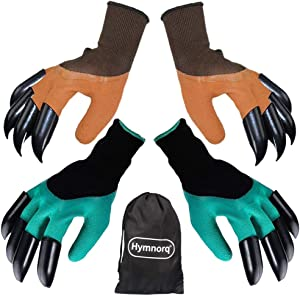 Hymnorq Garden Genie Gloves with Claws on Each Hand for Digging, 2 Pairs in Green and Brown, Protective Durable Material, Waterproof Puncture Resistant, Universal Size, Ideal Gift for Gardeners