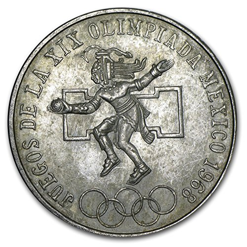 1968 MX Mexico Silver 25 Pesos Olympics AU/BU (ASW .5209) Silver About Uncirculated