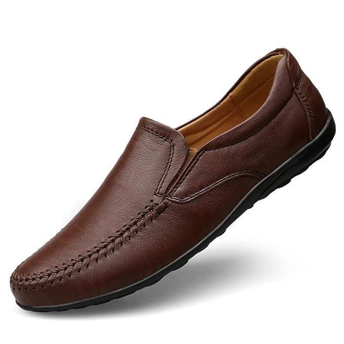 YAN Zapatos De Hombre 2018 Cuero Primavera/Otoño Suelas De Luz Mocasines Y Slip-Ons Zapatos De Conducción De La Comodidad, 38: Amazon.es: Ropa y accesorios