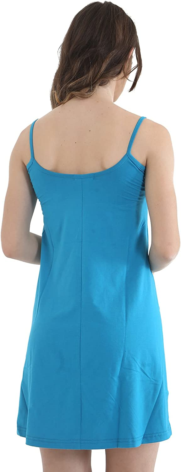 GW CLASSYOUTFIT ® Ladies Women's Girls Sleeveless Print Cami Plain Tops Dresses Camisole Strap Skater Swing Flared Dress Vest Top Cami Turquoise