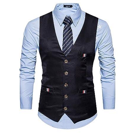 W&TT Chaleco de Traje de Color sólido Vestido Chaleco con cinturón ...