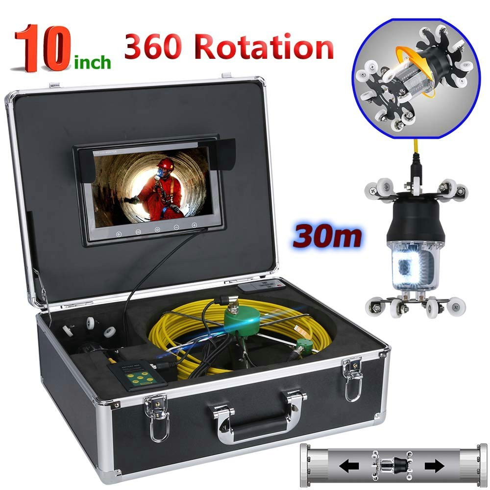 WESEAZON 10 inch Pipe Inspection Video Camera Drain Sewer Pipeline Industrial Endoscope Support IP68 38 LEDs 360 Degree Rotating Camera,50M