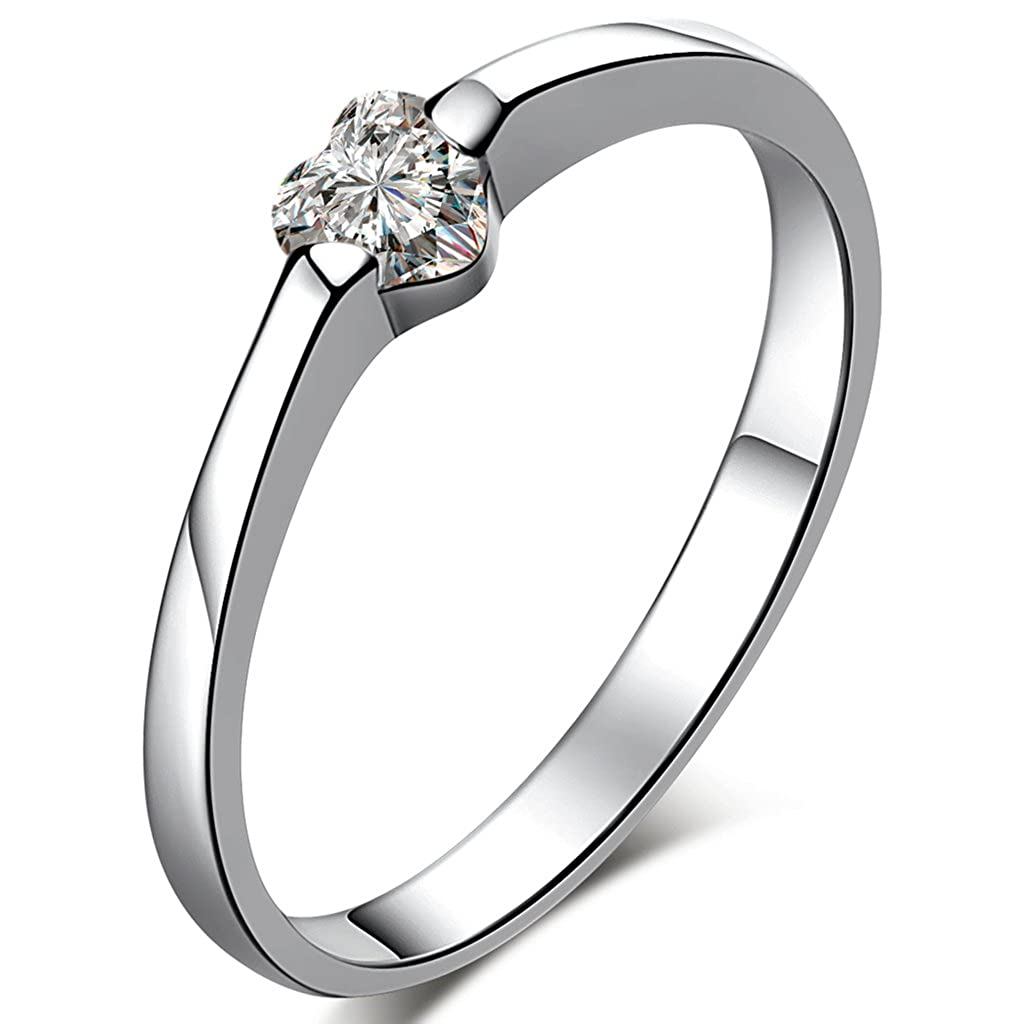 Endless Love 925 Sterling Silver Cubic Zirconia High Polish Single/Couples Heart Ring Infinite Jewellery