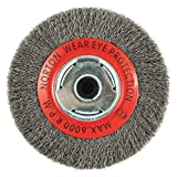 Norton 6'' Crimped Wire Wheel Brush, Arbor Hole Mounting, 0.014'' Wire Dia, 1-1/8'' Bristle Trim Length, 1 EA