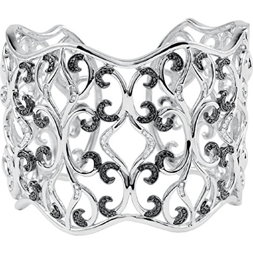 Roxx Fine Jewelry 1.33 Ct Black and White Diamond Filigree Scroll Design Hinged 7
