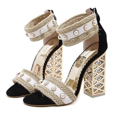 2018 Nouvelles Femmes Talons hauts Casual Peep Toe Chaussures Sexy Femmes Chaussures Wild Trend Sandales Mariée à Talons Hauts Femmes Chaussures De Mariage Parti Chaussures ( Color : Noir , Taille : Us6.5/eu37/u