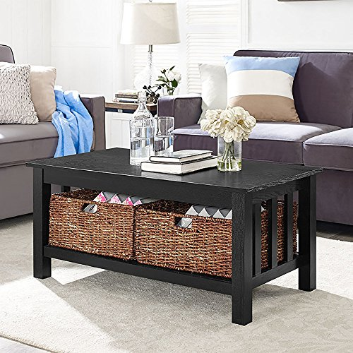 WE Furniture 40″ Wood Storage Coffee Table with Totes – Black, 40″,