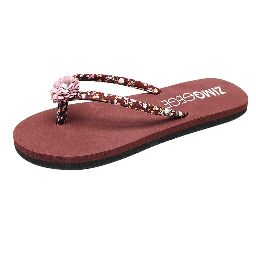 Summer Bohemian Women Flip Flops Clip Toe Home Slippers Ladies' Flat Beach Shoes Brown