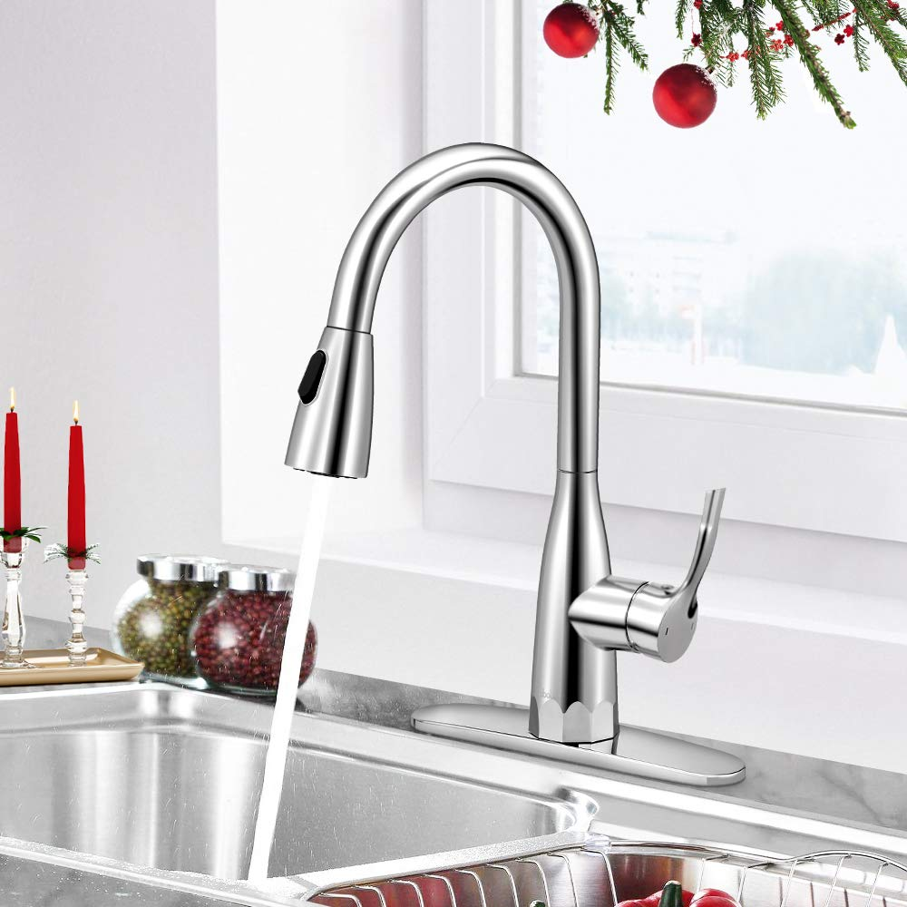 Kitchen Faucets with Pull Down Sprayer Brushed Nickel Kitchen Faucet Stainless Steel Single Handle Hign Arc by BOHARERS