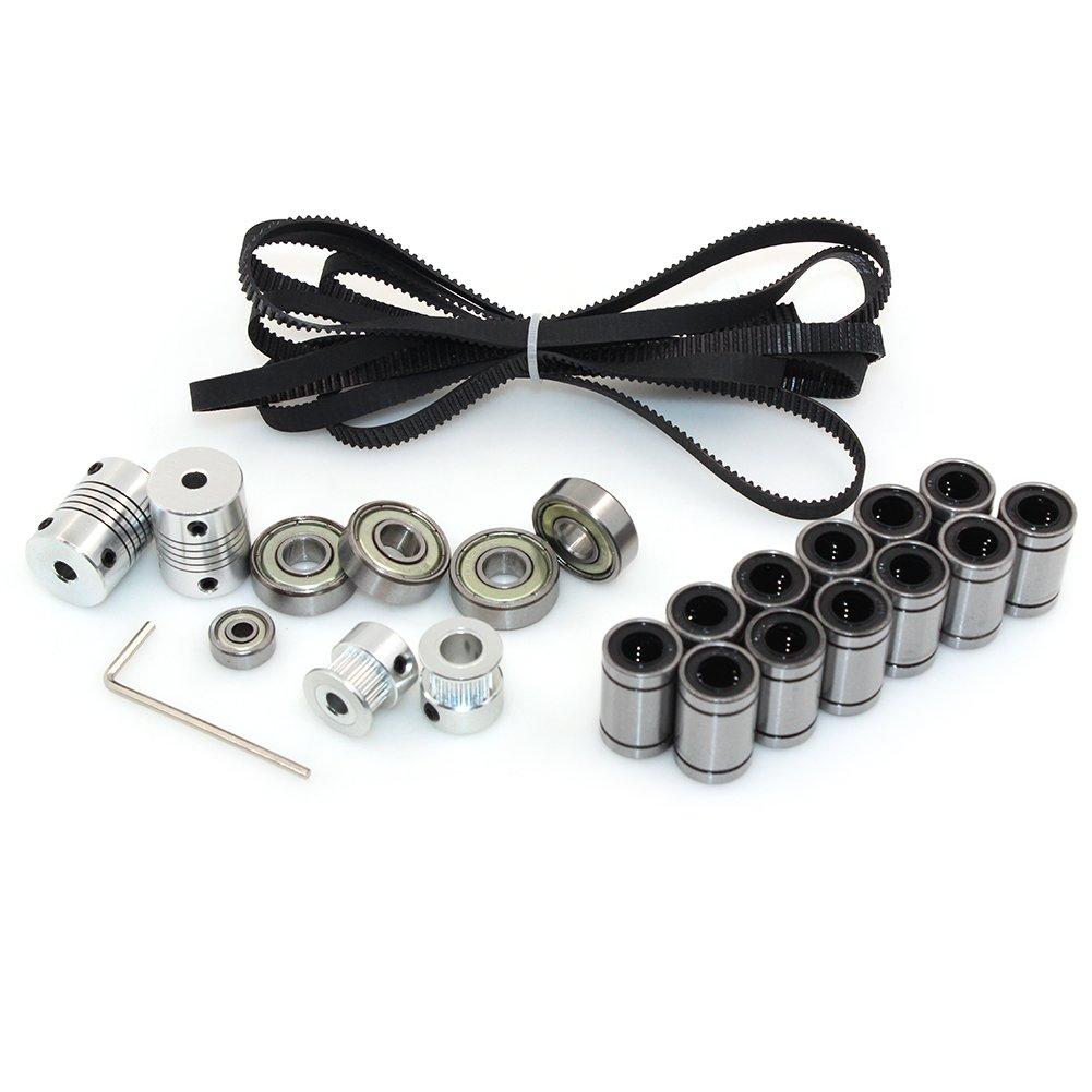 Biqu imprimante 3d RepRap Prusa i3 Mouvement kit 2 metre Gt2 Courroie + 20T Poulie de synchronisation + 608ZZ Roulement + LM8UU Roulement liné aire + 624zz Roulement + Arbre du moteur coupleur