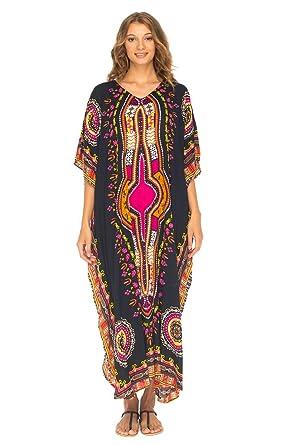 1bf13b01956 SHU-SHI Womens Long Kaftan Beach Swim Suit Cover Up with Sequins Dashiki  Print Black