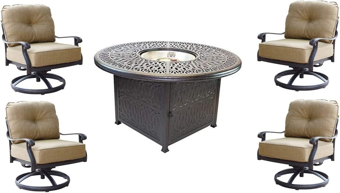 Theworldofpatio Elizabeth Cast Aluminum Powder Coated 5pc Deep Seating Set with 52 Firepit with Enclosure – Antique Bronze