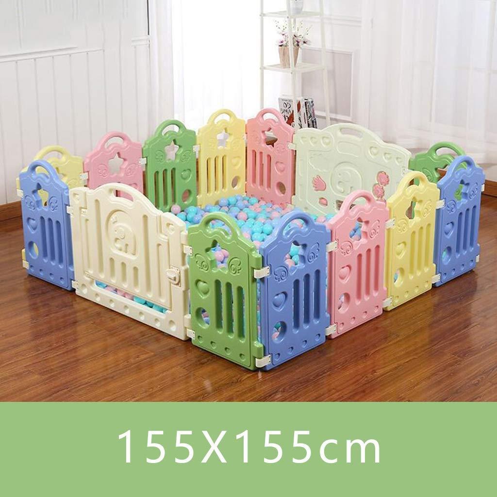 DBSCD ベビーフェンス子供用プレイフェンス▏ベビーフェンス▏屋内クロール幼児用安全柵プラスチック製の玩具強くて丈夫な/から作られた(色:C、サイズ:155X155cm) 155X155cm C B07V9DVY8L