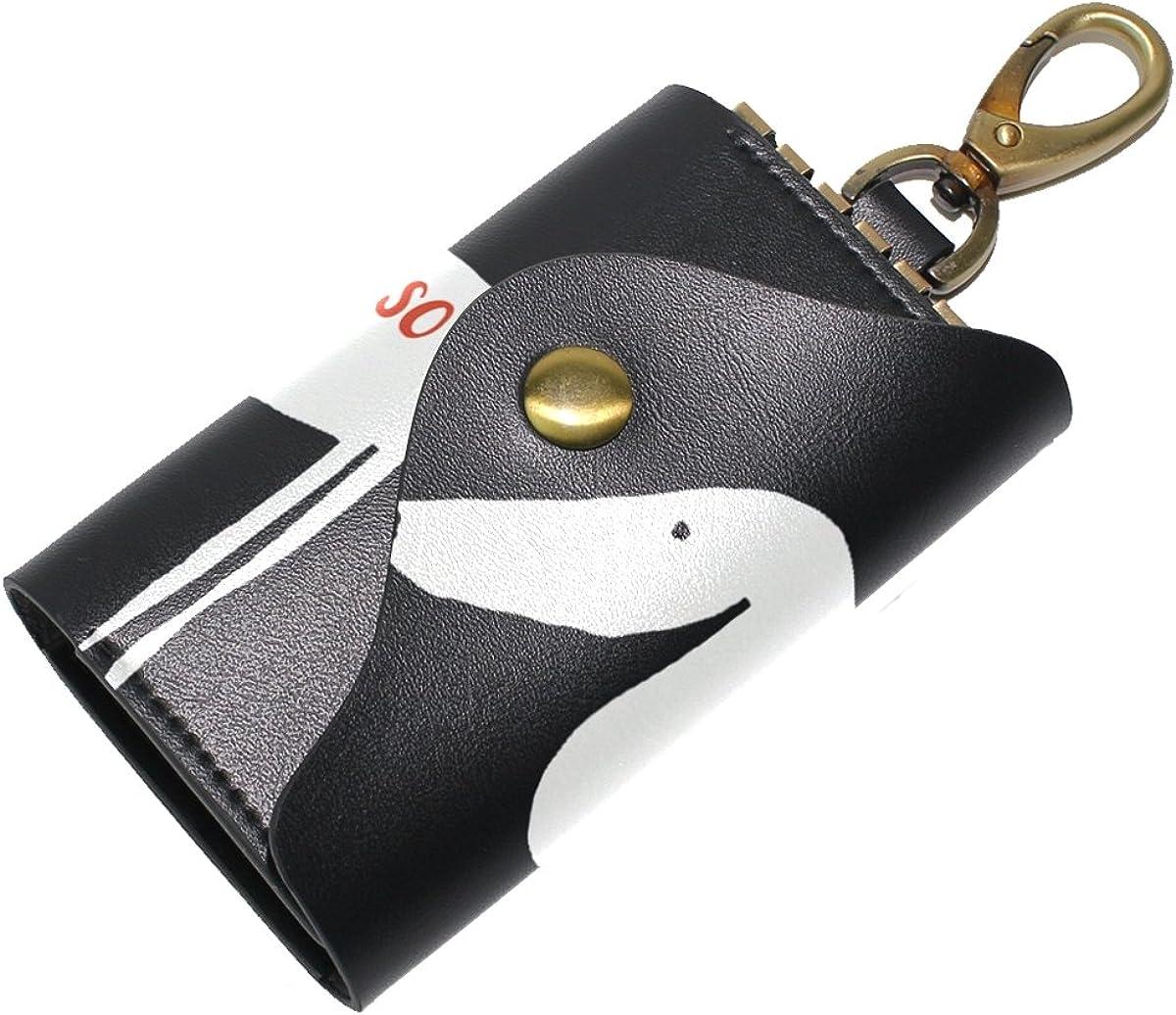 DEYYA Vanesa Casuso Dachshund Dog Leather Key Case Wallets Unisex Keychain Key Holder with 6 Hooks Snap Closure