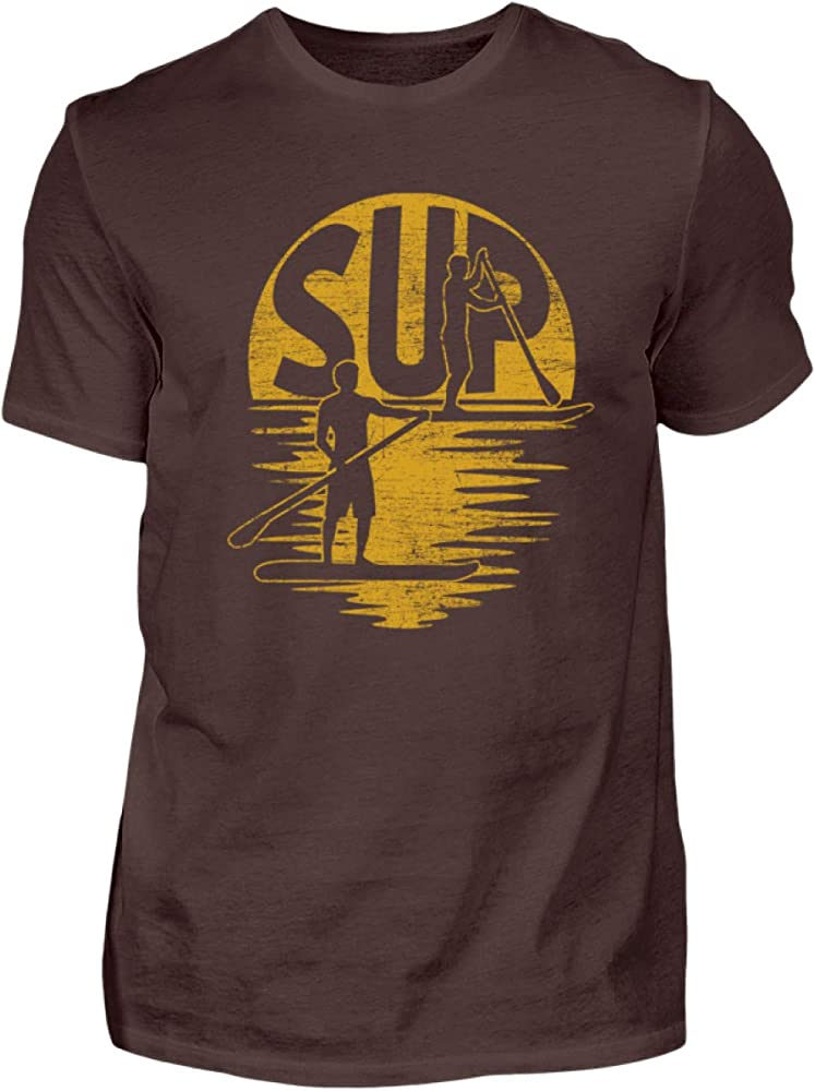 SUP – Stand Up Paddling – Paddle Board Surf Surfer Surf Tabla Deportes acuáticos – Hombre Camiseta marrón S: Amazon.es: Ropa y accesorios