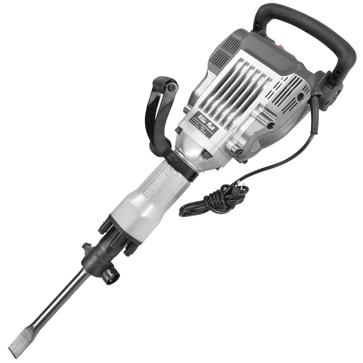 XtremepowerUS 3600W Heavy Duty Electric Demolition Jack Hammer Concrete Breaker (2) Chisel & Point Chisel Bit Hand Gloves w/Case