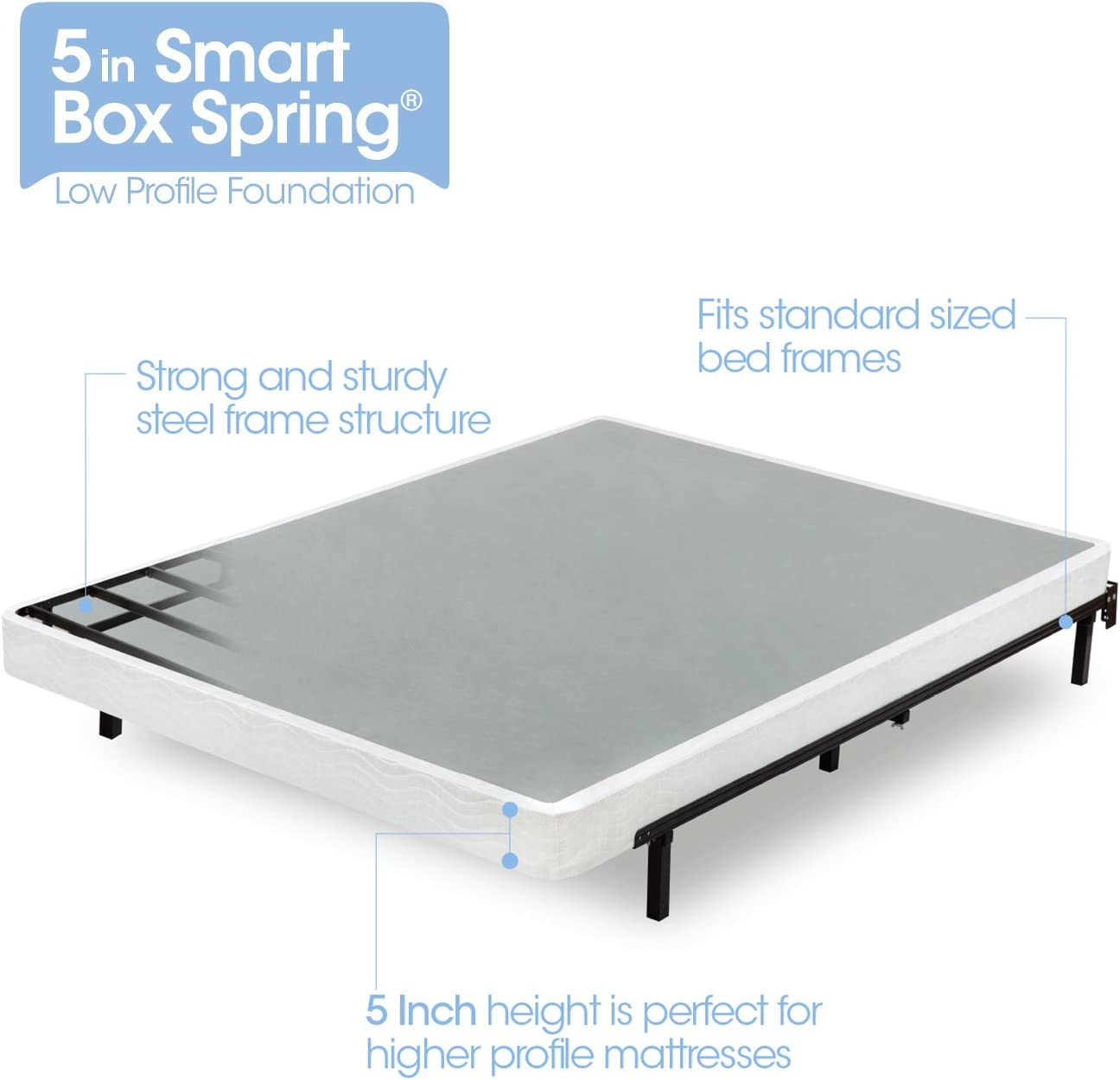 Zinus Armita 5 Inch Smart Box Spring / Mattress Foundation / Built-to-Last Metal Structure / Low Profile / Easy Assembly, Queen: Furniture & Decor