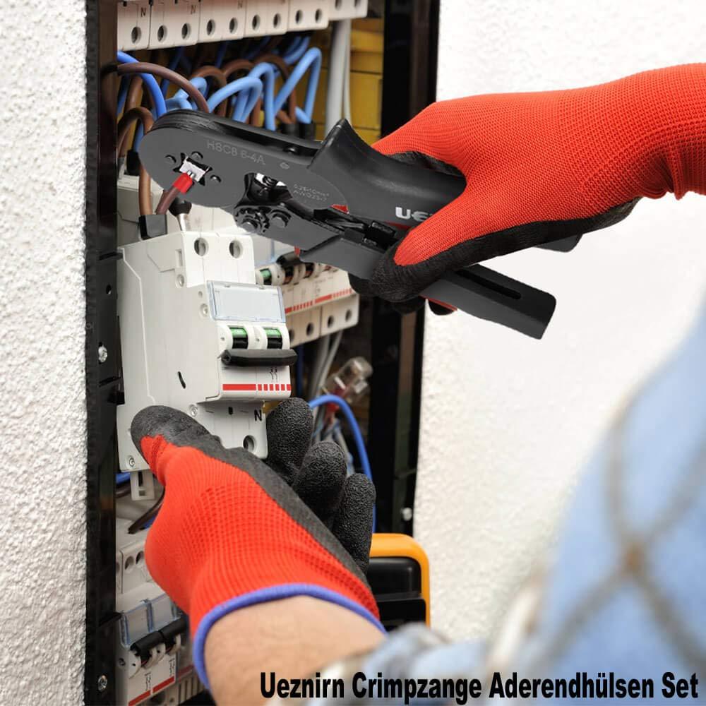 Ueznirn Crimpzange Aderendh/ülsen Set Aderendh/ülsenzange mit 1350 st/ück Aderendh/ülsen Sortiment mit Zange Tool Kit 0,25-10,00 qmm