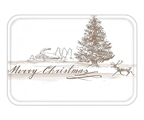 minicoso doormat christmas decorations collection romantic vintage merry christmas scene with reindeer tree star holy religious - Religious Outdoor Christmas Decorations