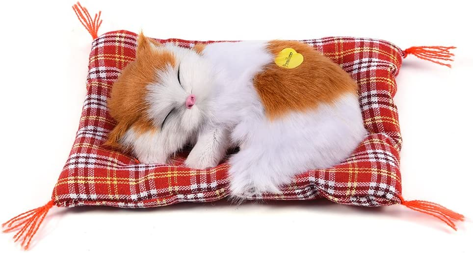 #3 Simulation Sleeping Cat Toy with Soft Mat Bed Durable Vocalize Meow Kitten Stuffed Plush Toys Doll Home Decoration GLOGLOW Pack of 2