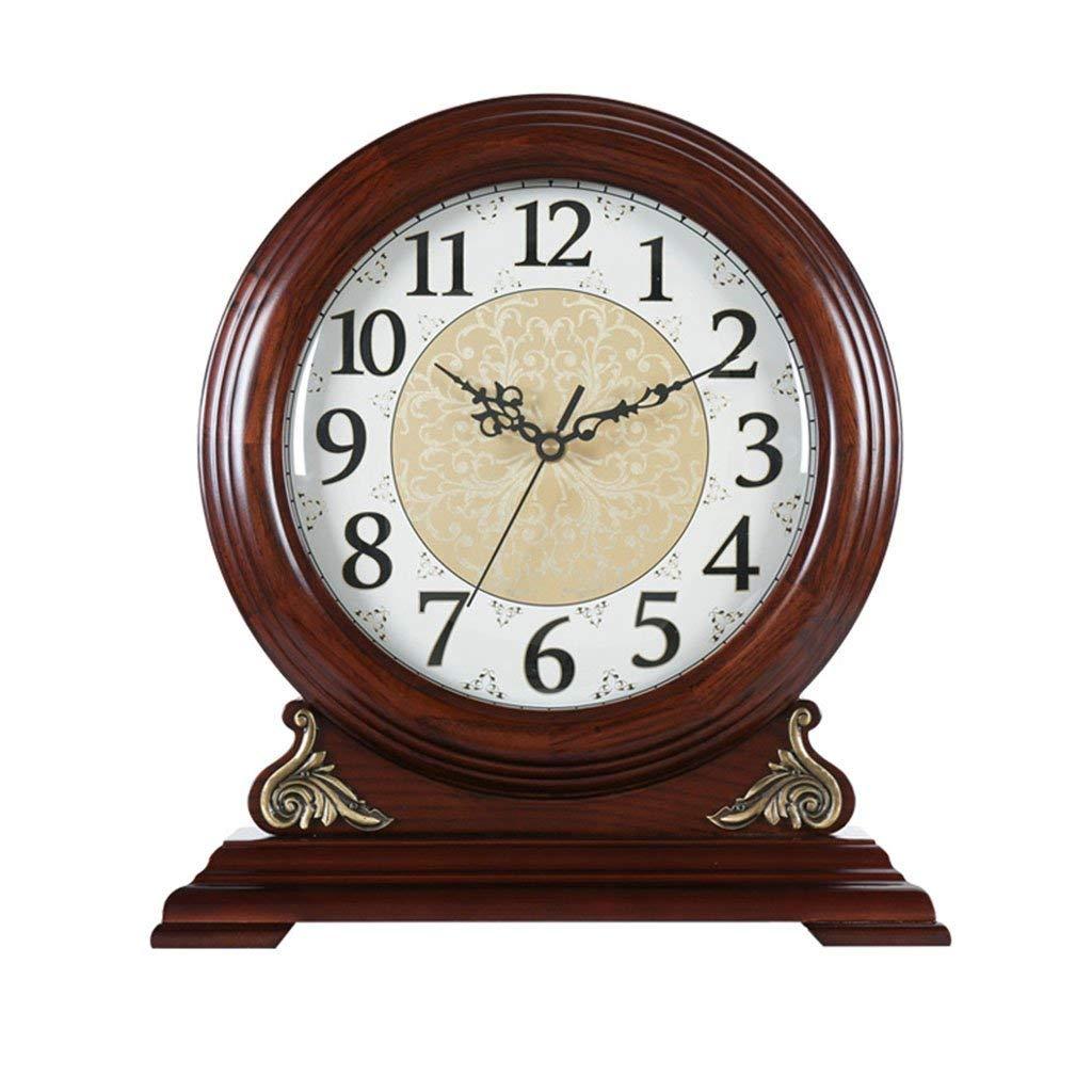 デスククロックファミリークロック置き時計リビングルームのベッドルームのマントルクロックヴィンテージソリッドウッドサイレントクォーツ時計の装飾リビングルームのベッドルームに最適オフィス(色:報告なし) B07THRJKF2 Not Reporting