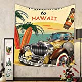 Gzhihine Custom tapestry Island Tapestry Car 1960s Decor Welcome to Hawaii Retro American Pop Art Print with Car Palms Tribal Mask and Surfboards Bedroom Living Room Dorm Multi