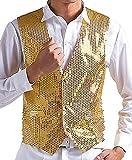 JOKHOO Men's Sequins Vest,Gold,Large