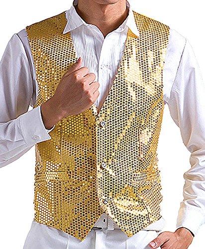 JOKHOO Men's Sequins Vest,Gold,Large by JOKHOO
