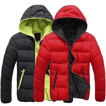 Voiks Negro Hombres Abrigo de Invierno cálido con Capucha de la Chaqueta - Acolchado cálido, Ligero Chaqueta de Invierno, la Capa de Lluvia Resistente ...