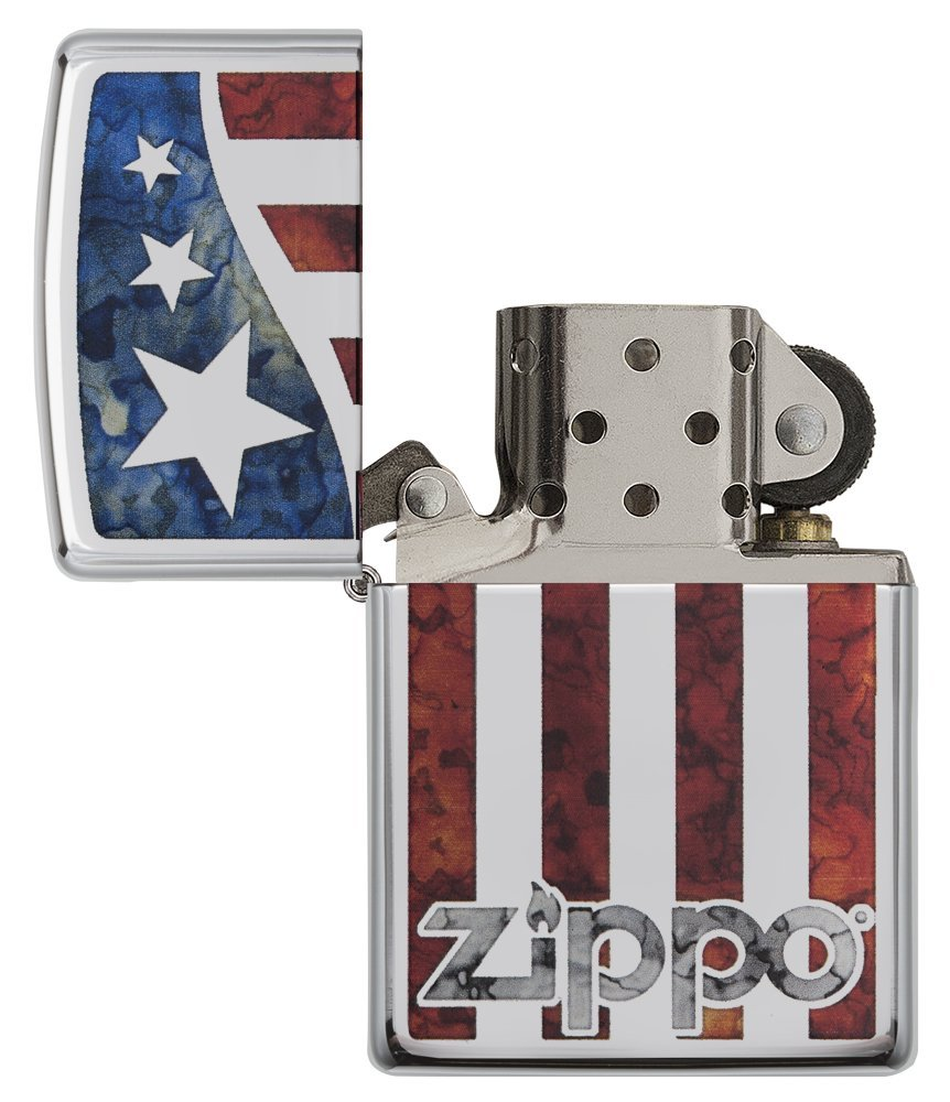 Zippo American Flag Pocket Lighter, High Polish Chrome by Zippo (Image #4)