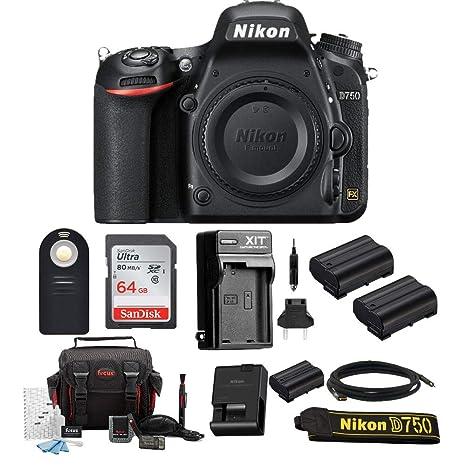 Nikon D750 FX-Format Digital SLR Cámara (Solo Cuerpo) con 64 GB ...
