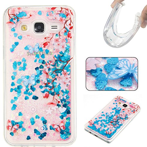Funda Brillo para Samsung Galaxy J5 2015 SM-J500F XiaoXiMi Carcasa Transparente de Silicona Soft Sparkle Glitter Case Cover Funda Protectora Carcasa Blanda Caso Suave Flexible Caja Delgado Ligero Casc Flor de Cerezo Rosa