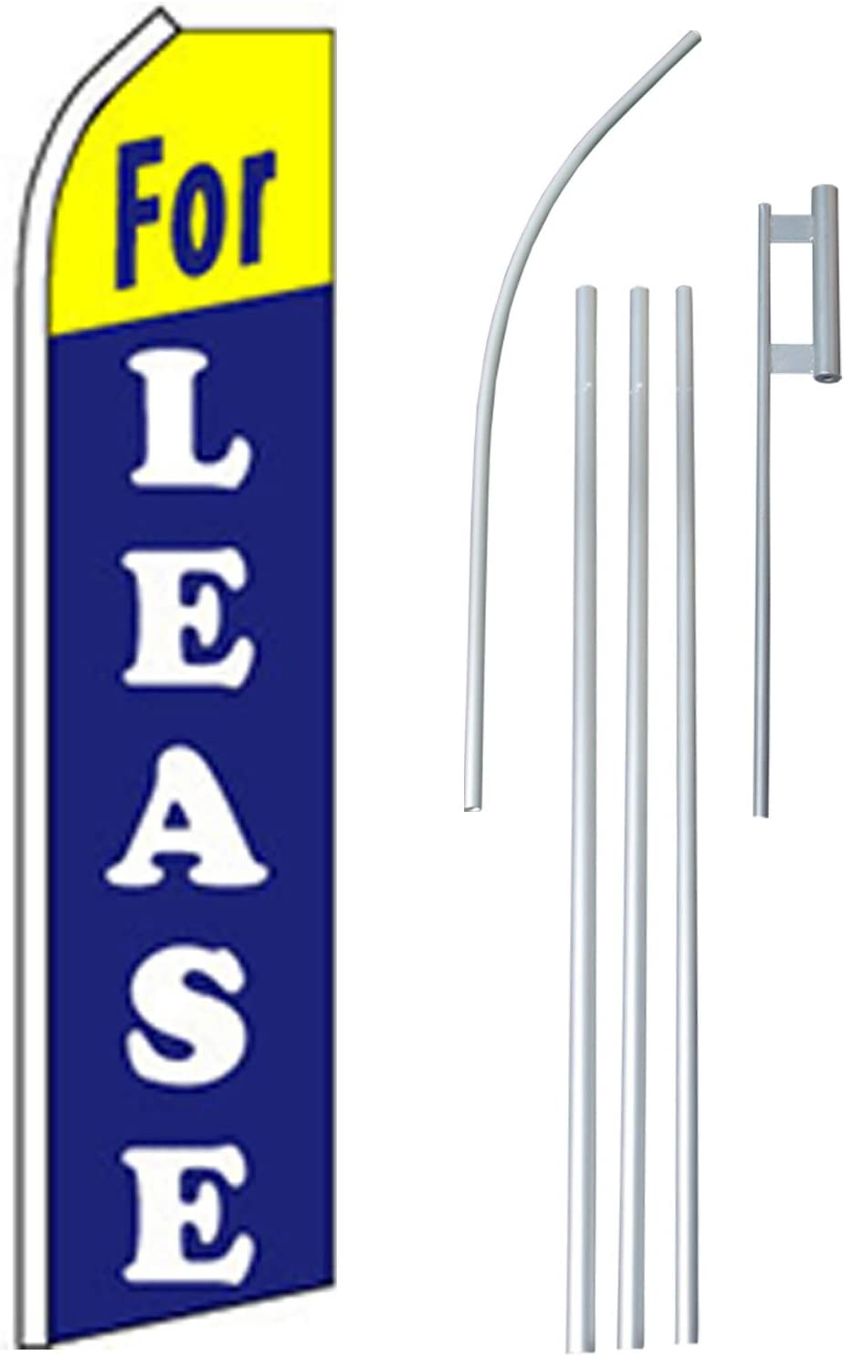 "NEOPlex - ""For Lease"" Complete Flag Kit - Includes 12' Swooper Feather Business Flag With 15-foot Anodized Aluminum Flagpole AND Ground Spike"