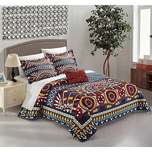 4pc Blue Yellow Gold Red African Themed Quilt King Set, Diamond Aztec Artistic, Microfiber, Hippie Pattern Bedding Bohemian Hippy Tribal Native American Southwest Paisley Motif by Unknown