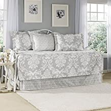 Laura Ashley 199284 5-Piece Venetia Daybed Cover Set, Gray